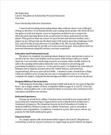 application statement format