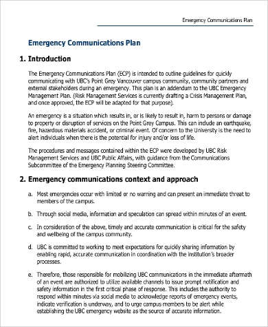 emergency communications plan