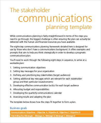 Communications Plan Template Free. Digital Marketing Plan Template