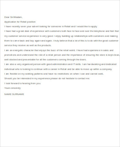 retail cover letter format example - Retail Cover Letter Examples Uk