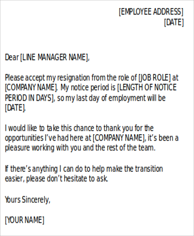 resignation letter in word
