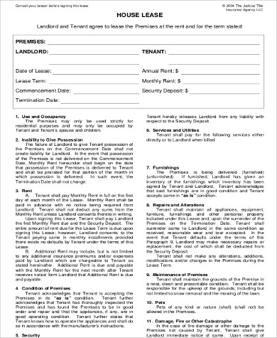 house lease rental agreement format
