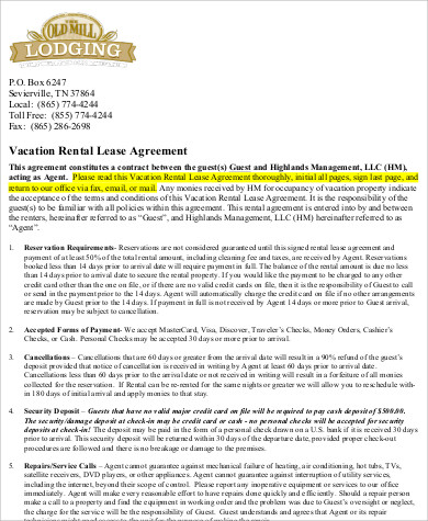 vacation lease rental agreement