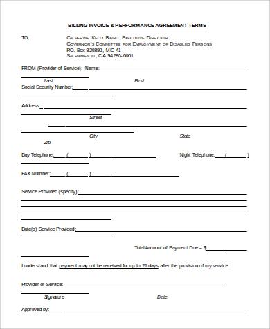 sample invoice bill word format