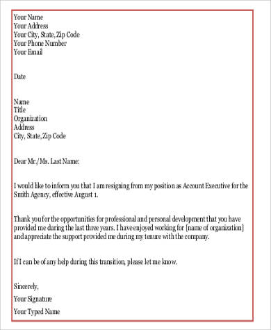 official resignation letter format pdf
