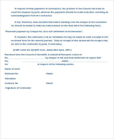 contractor payment receipt