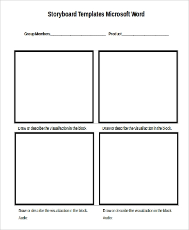 blank storyboard in word