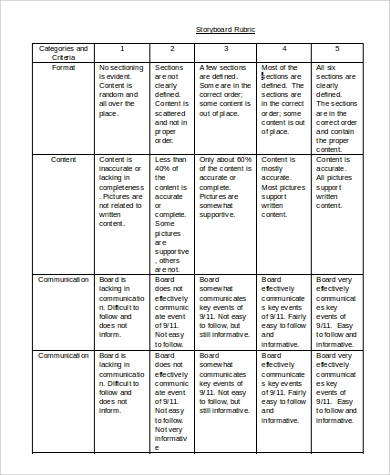 sample storyboard rubric