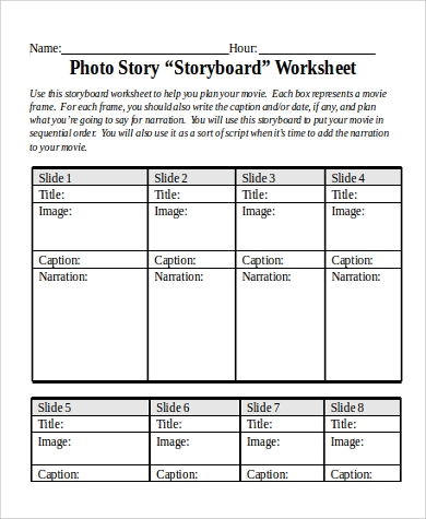 photo story storyboard worksheet word