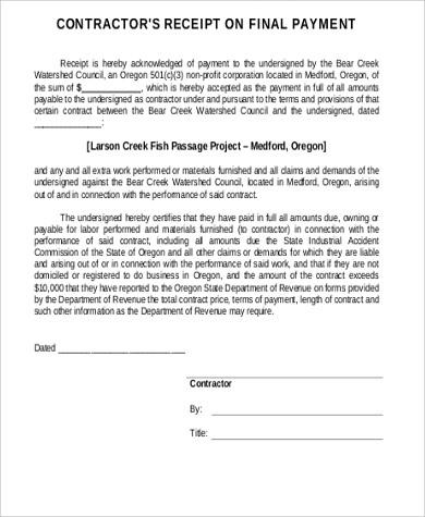 contractor final payment receipt