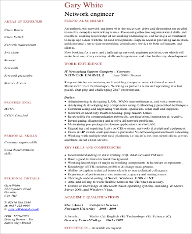 sample experience network engineer resume