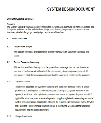 system design document example