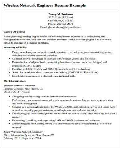 Wireless Network Engineer Resume Example