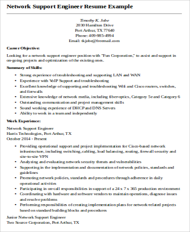 network support engineer resume