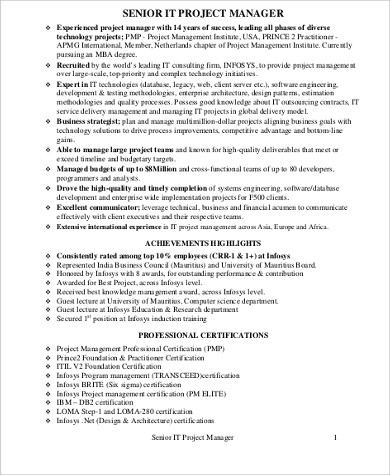 Sample It Project Manager Resume   Examples In Word Pdf