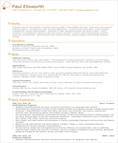 network test engineer resume format