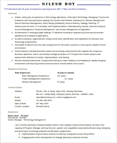 sample it project manager resume 9 examples in word pdf - Manager Resume Format
