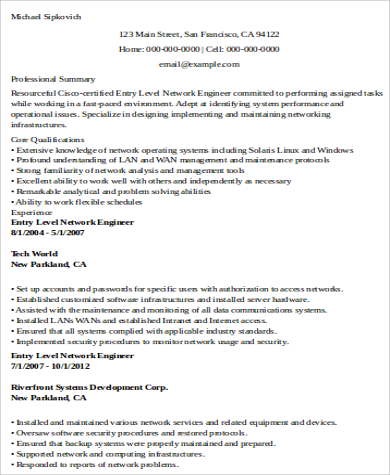 entry level network engineer resume