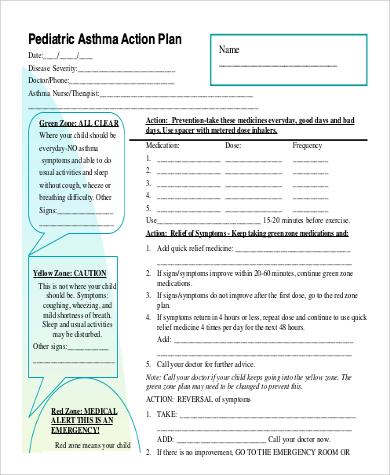 example pediatric asthma action plan