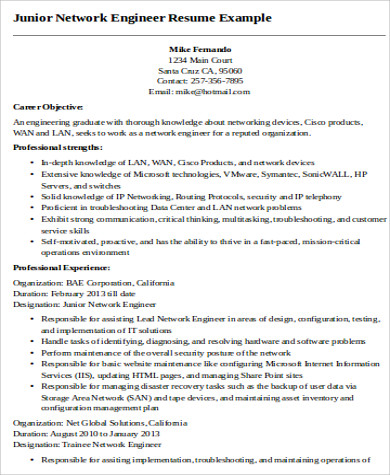 Network engineer resume summary