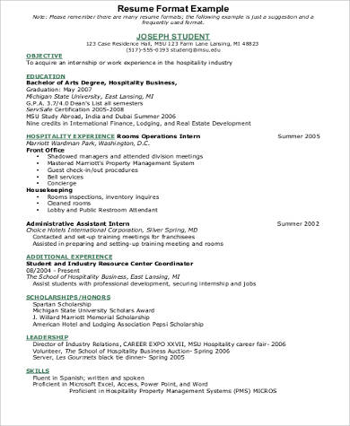 Sample Hospitality Resume   Examples In Word Pdf