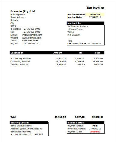 free printable invoice sample