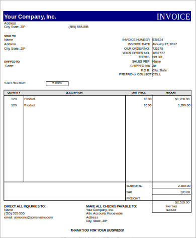 free printable invoice in excel