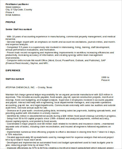 Sample Staff Accountant Resume   Examples In Word Pdf