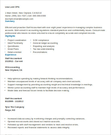 experienced staff accountant resume format
