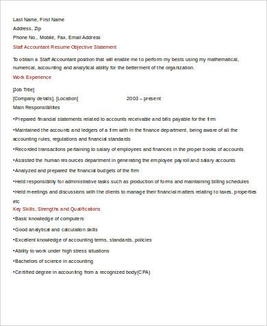staff accountant skills resume
