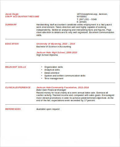 sle staff accountant resume 9 exles in word pdf