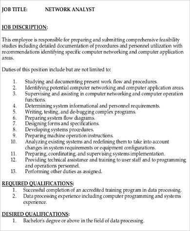 Programmer Analyst Job Description Sample 9 Examples In