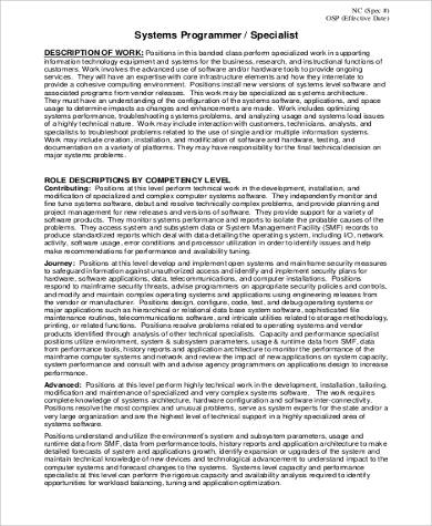System Programmer Job Description Sample   Examples In Word Pdf