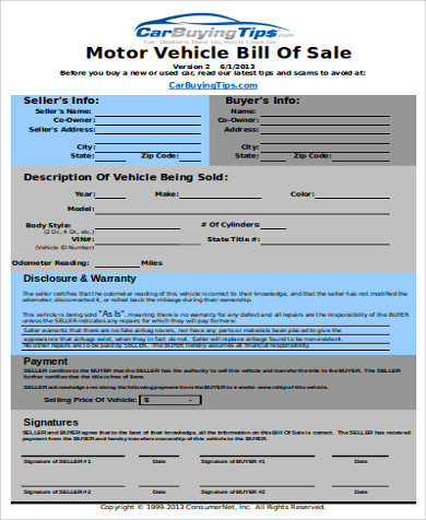used vehicle bill of sale