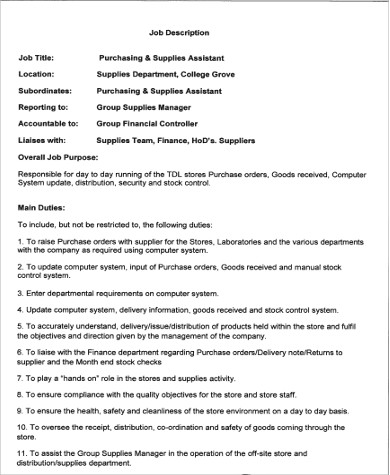 Purchasing Assistant Job Description Sample   9+ Examples In Word, Pdf