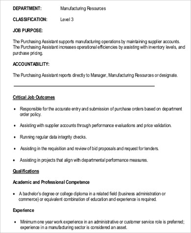 Purchasing Assistant Job Description Sample - 9+ Examples In Word, Pdf