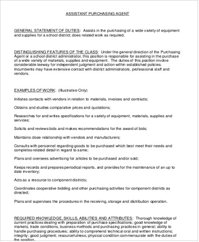 Purchasing Assistant Job Description Sample   Examples In Word Pdf