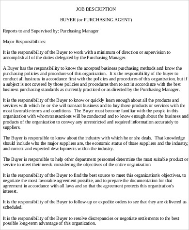 Purchasing Agent Job Description Sample   Examples In Word Pdf