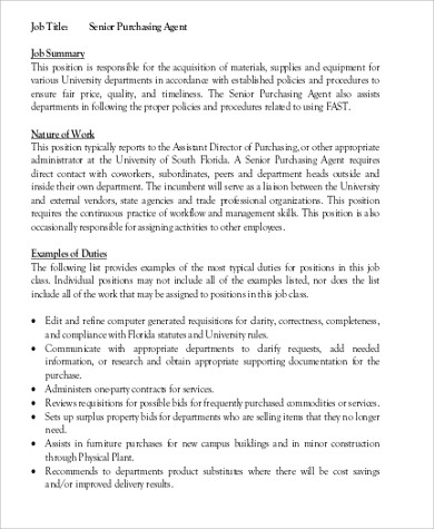 Purchasing Agent Job Description Sample - 7+ Examples In Word, Pdf