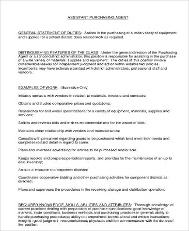 assistant purchasing agent job description