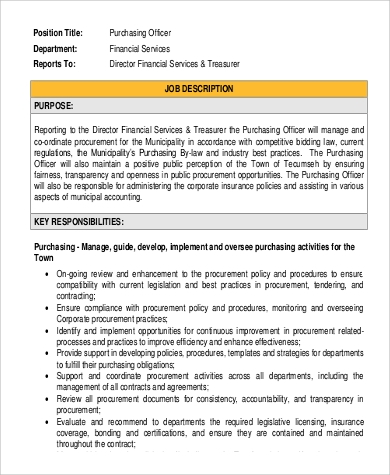 Purchasing Officer Job Description Sample   Examples In Pdf
