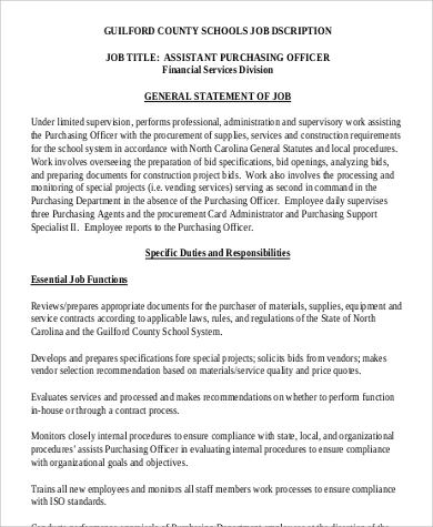 Sample Assistant Purchasing Officer Job Description