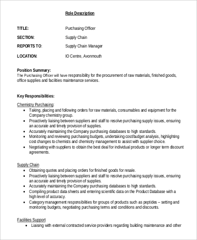 Purchasing Officer Job Description Sample - 6+ Examples In Pdf