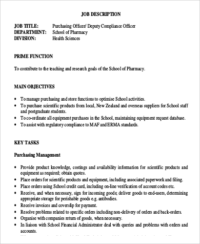 FREE 6+ Purchasing Officer Job Description Samples in PDF