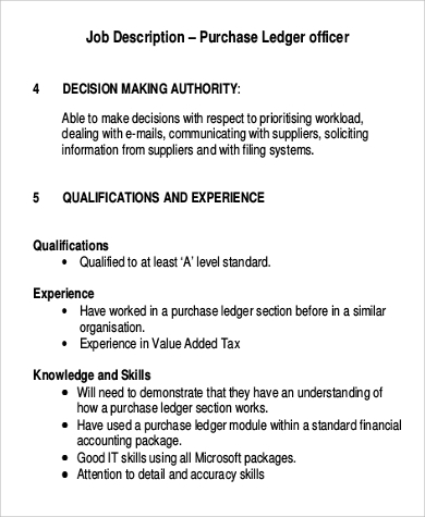 job description for purchase ledger officer