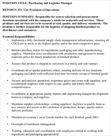 Purchasing Manager Job Description Sample   Examples In Word Pdf