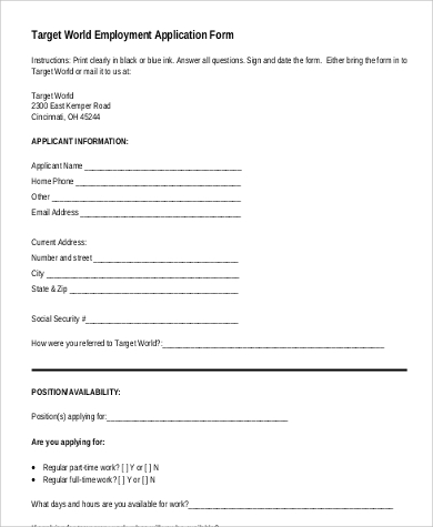 printable target application for employment format