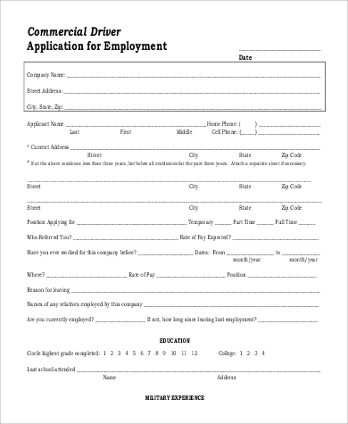 printable commercial driver application for employment