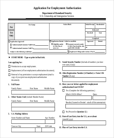 application for employment authorization