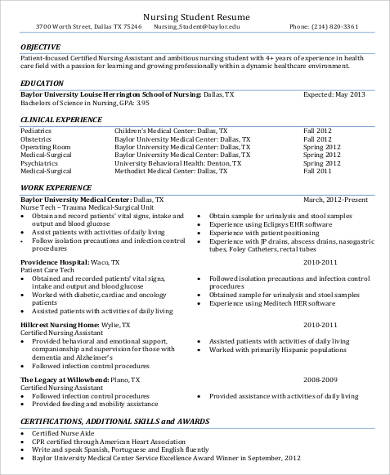 sample certified nursing assistant resume - Sample Certified Nursing Assistant Resume